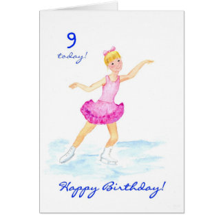 Ice-skating 9th Birthday Card for a Girl