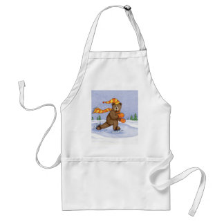 Ice Skating Bear Adult Apron