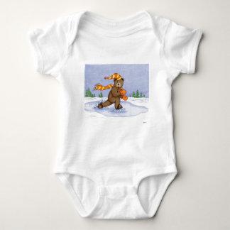 Ice Skating Bear Baby Bodysuit