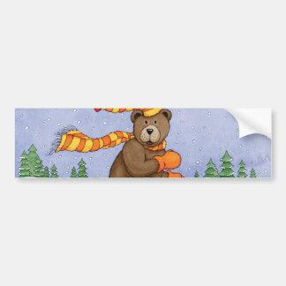 Ice Skating Bear Bumper Sticker