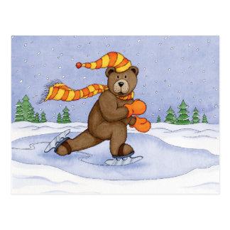 Ice Skating Bear Postcard