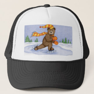 Ice Skating Bear Trucker Hat