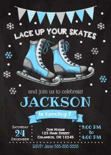 ice skating birthday invitations zazzle