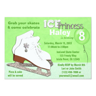 Ice Skating Birthday Invitation GREEN Ice Princess