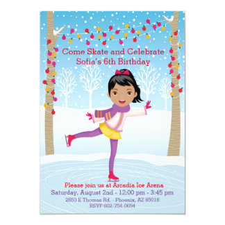 Ice Skating Birthday Party - African American Girl Card