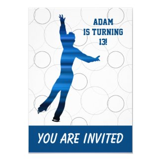 Ice skating birthday party invitation (boy)