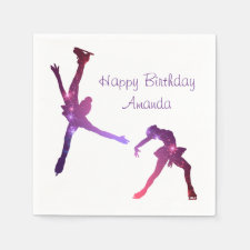 Ice skating birthday party napkin (stars)
