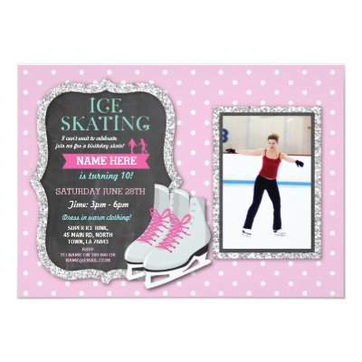 Ice Skating Birthday Party Invitation Zazzlecom