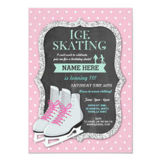 Ice Skating Birthday Party Pink Skate Invite