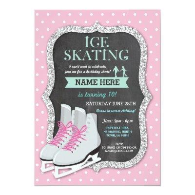 Ice Skating Birthday Party Invitation Zazzlecom