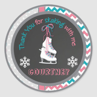Ice Skating Birthday Party Thank You Favor Tag Classic Round Sticker