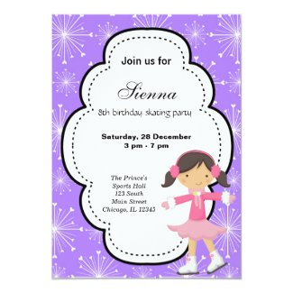 Ice Skating Birthday (Purple) Invitation