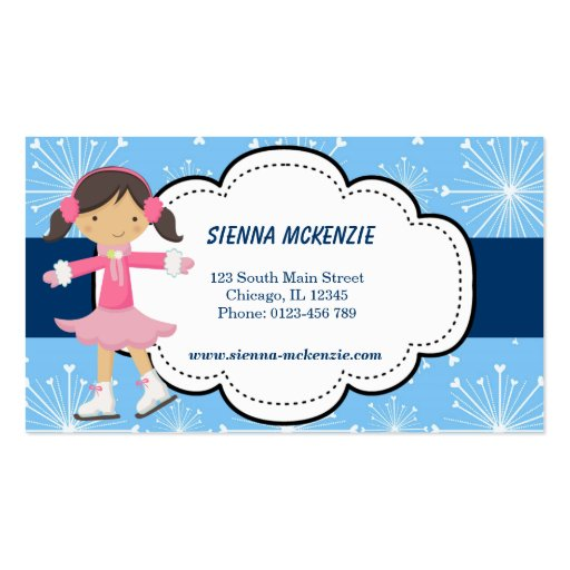 Ice Skating (Blue) Double-Sided Standard Business Cards (Pack Of 100)