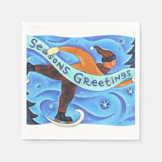 Ice Skating Boy in Blue Season's Greetings Winter Disposable Napkins