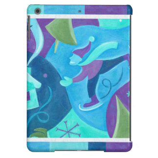 Ice Skating Boy in Blue Winter Snow Scene iPad Air Covers