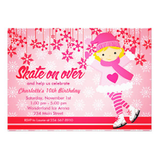 Ice Skating Bright Pink Girly Party Personalized Invitations