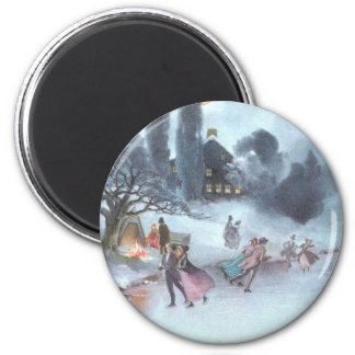 Ice Skating by Moonlight Vintage Christmas Fridge Magnets