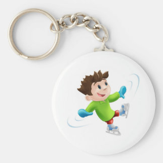 Ice skating cartoon basic round button keychain