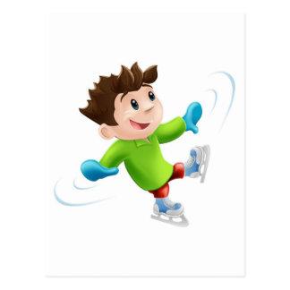 Ice skating cartoon post card