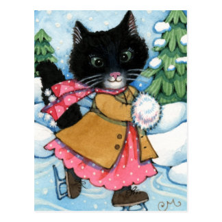 Ice Skating Cat - cute kitten Postcard