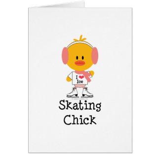 Ice Skating Chick Greeting Card