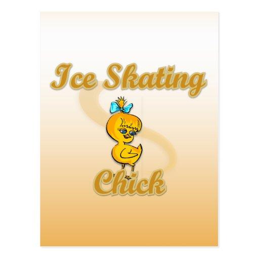 Ice Skating Chick Post Card