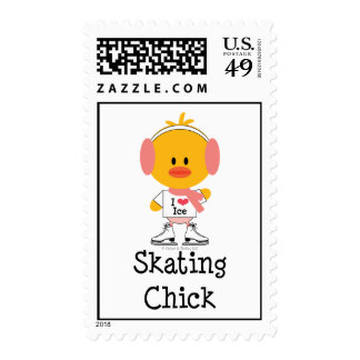 Ice Skating Chick Postage Stamps