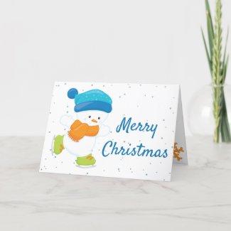 Ice skating Christmas card - Snowbaby blue orange