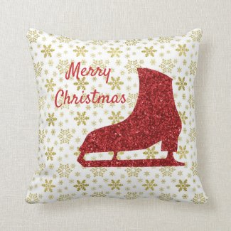 Ice skating Christmas decor - gold and red pillow