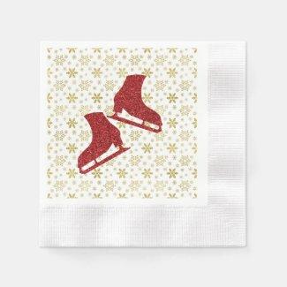 Ice skating Christmas napkins - Gold & Red skates