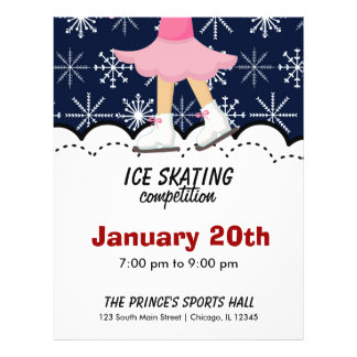 Ice Skating Competition (Dark Blue) Flyers