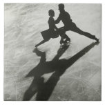 Ice Skating Couple Large Square Tile