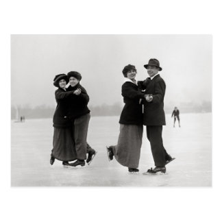 Ice Skating Couples, 1915 Postcard
