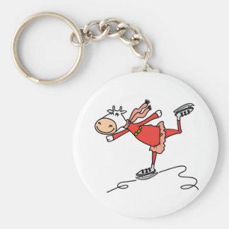Ice Skating Cow Basic Round Button Keychain