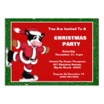 Ice Skating Cow Christmas Party Invitation
