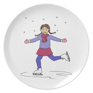 Ice Skating Figure Skater Melamine Plate