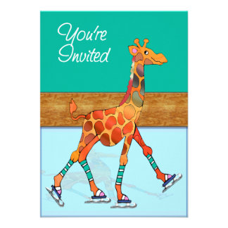 Ice Skating Giraffe at the Rink Personalized Invitations