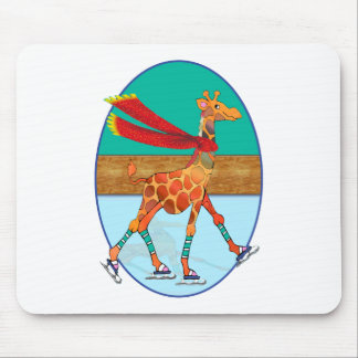 Ice Skating Giraffe in the Oval Rink Mouse Pad