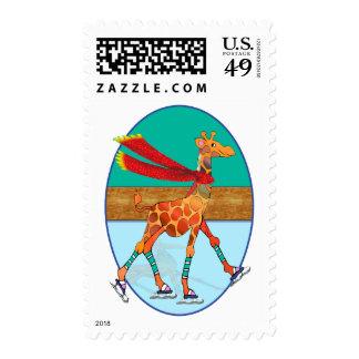 Ice Skating Giraffe in the Oval Rink Stamp