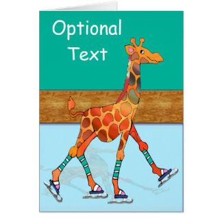 Ice Skating Giraffe & Rink - Customizable Card