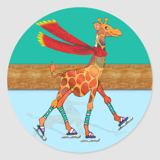 Ice Skating Giraffe with Scarf at the Rink Classic Round Sticker