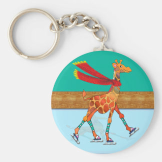 Ice Skating Giraffe with Scarf at the Rink Keychain