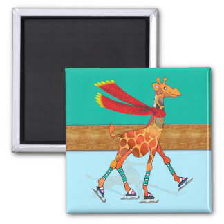 Ice Skating Giraffe with Scarf at the Rink Magnet