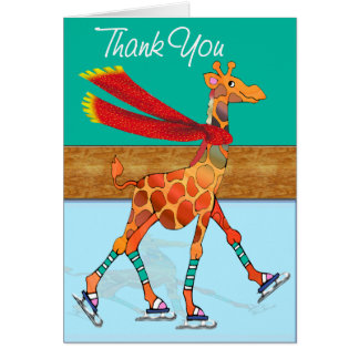 Ice Skating Giraffe with Scarf at the Rink Thanks Greeting Card