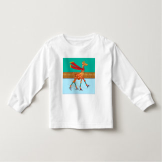 Ice Skating Giraffe with Scarf at the Rink Toddler T-shirt