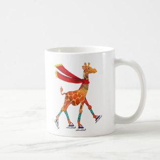 Ice Skating Giraffe with Scarf Coffee Mug