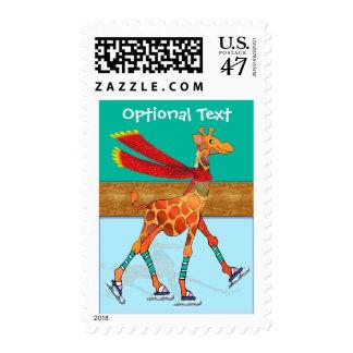 Ice Skating Giraffe with Scarf - Customizable Postage