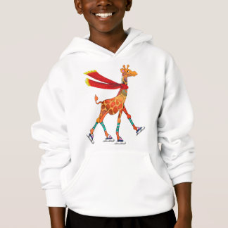 Ice Skating Giraffe with Scarf Hoodie