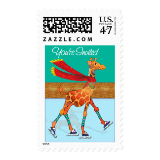 Ice Skating Giraffe with Scarf Postage