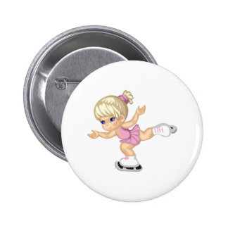 Ice Skating Girl 2 Inch Round Button